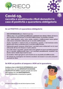 Covid19 raccolta e smaltimento rifiuti domestici in caso di positività o quarantena obbligatoria